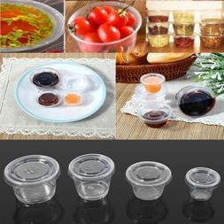 1/2/3/4 OZ 50X Disposable Plastic Clear Sauce Chutney Cups B