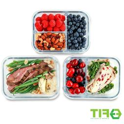 1 & 2 & 3 Compartment Glass Meal Prep Containers
