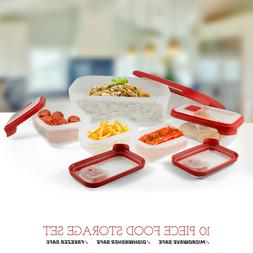 10 Piece Food Storage Set Meal Containers Microwave Vents