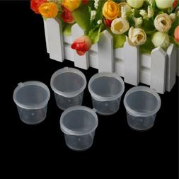 100Pcs`Clear Plastic Disposable Sauce Cups Food Containers S