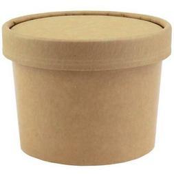 12 oz Kraft Paper To Go Containers - Non Vented Lids - Dispo
