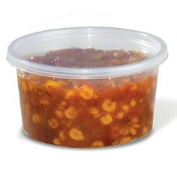 12 oz. Round Plastic Clear Deli Food Storage Container Cup -