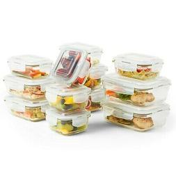 VonShef 12pc Glass Food Storage Containers & 12 Airtight Tup