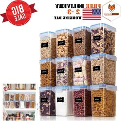 12 PIECES AIRTIGHT FOOD STORAGE CONTAINERS PLASTIC PBA FREE