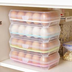 15 Eggs Holder Food Storage Container Plastic Refrigerator E