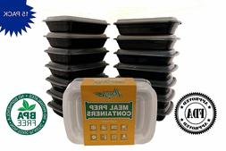 15 Pack PaczSaver Meal Prep Containers 3 Compartments Food S