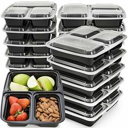 15 Pk Meal Prep Containers Disposable Food Storage 32 OZ 3 D