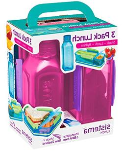 Sistema 1595ZS Collection Lunch Box 3 Pack, Blue/Green/Pink