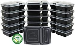 16 Pack - SimpleHouseware 2-Compartment Reusable Meal Prep S