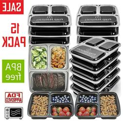15 Pack Meal Prep Containers Food Storage 3 Compartment Reus