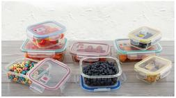16-pc Glass Food Storage Containers Lock Tight Silicone Lids
