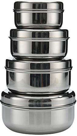 18/8 Stainless Steel 4-pack nesting Lunch Box and food stora