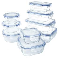 18 Piece Glass Food Storage Container Snap On Lid Airtight D