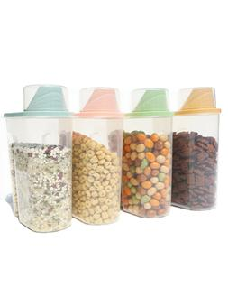 2.5L 4Pcs Plastic Cereal Dispenser Kitchen Grain Rice Food S