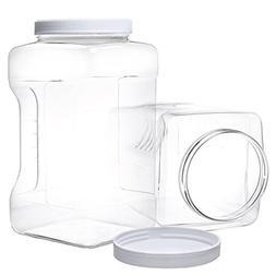 2 Pack Gallon Jars with Lids - Large Empty Plastic Storage C