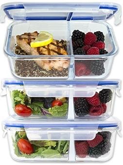 2 Compartment Glass Meal Prep Containers w/New Divider Seal