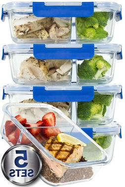 2 Compartment Glass Meal Prep Containers with Lifetime Last