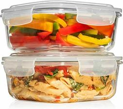 2 LARGE 1200ML / 42 Oz Glass Food Storage Containers w/Airti