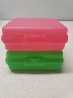 2 New Tupperware Sandwich Keepers Kids Lunch Box Pink Green