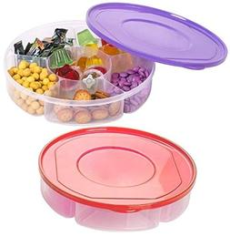 2 Pack - Candy and Nut Serving Container, Appetizer Tray wit