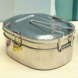 2 Tier Stainless Steel Tiffin Tin Food Picnic Storage Contai