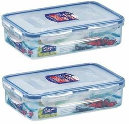 2 X LOCK AND & LOCK RECTANGULAR PLASTIC FOOD STORAGE CONTAIN