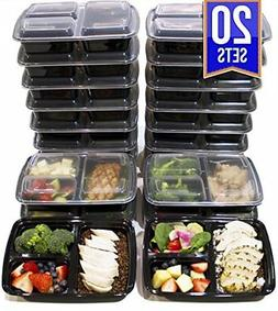 3 Compartment Meal Prep Containers BPA Free Portion Control