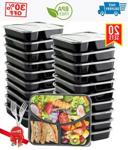 20 pack 3 compartment with lids meal