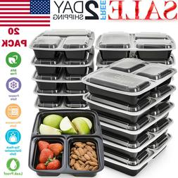20 Pack Meal Prep Containers Food Storage 3 Compartment Reus