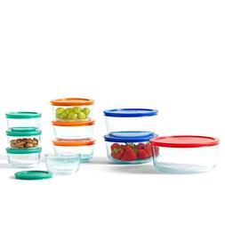 20-Pc Pyrex Glass Food Storage Set Bakeware Bowls W/ Colorfu