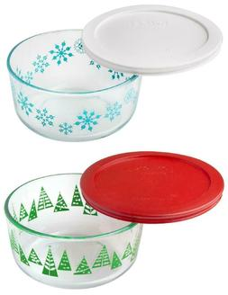 2016 PYREX Christmas Holiday 4 Cup Storage Dish DECORATED TR