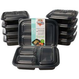 20pc Meal Prep Containers 3 Compartment Food Storage BPA Fre