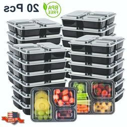 20pcs meal prep containers 3 compartment food