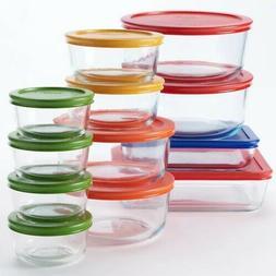 Pyrex 24 pc. Glass Storage Set with Color Lids, clear