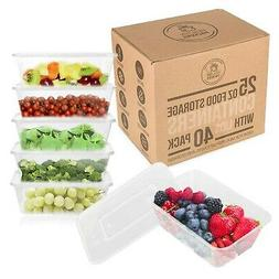 25 oz Food Storage Containers with Lids - Disposable Meal Pr