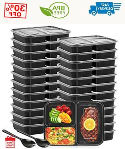 25 pack 3 compartment meal prep containers