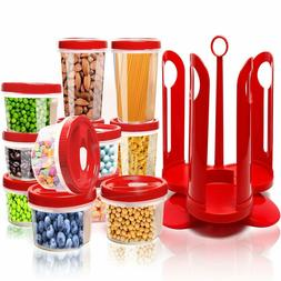 25 Piece Food Storage Container Set With Rotating Rack Durab