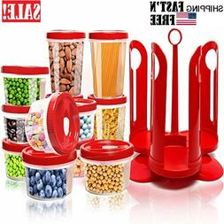 25-Piece Food Storage Container Set with Rotating Rack, Dura