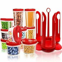 Fun Life 25-Piece Storage Container Set with Rotating Rack,