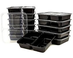 3 Compartment Bento Lunch Boxes with Lids - Stackable, Reusa