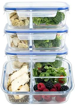 3 Compartment Glass Meal Prep Containers w/New Divider Seal