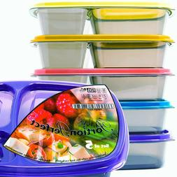 3 Compartment Meal Prep Containers BPA Free Reusable Bento L
