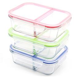 RENPHO  Glass Meal Prep Containers 2 Compartment - Bento Box