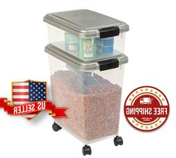 3-Piece Airtight Pet Dog Cat Food Storage Container Combo, F