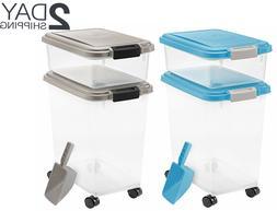 IRIS 3-Piece Airtight Pet Dog Cat Food Storage Container Com