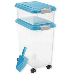 IRIS 3 Piece Airtight Pet Food Container Combo in Blue Dog C