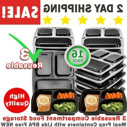 3 Reusable Compartment Food Storage Meal Prep Containers wit