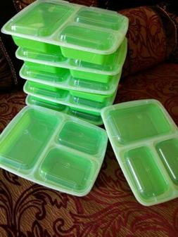 3-Section Food Storage Container Set 7 Pack Fitness Accessor