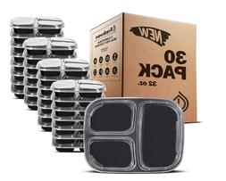 30 Packs Meal Prep Food Storage Containers 3 Compartment wit