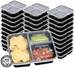 30 Value Pack - SimpleHouseware 3 Compartment Reusable Meal